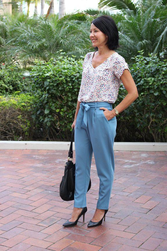 Blue drape pants