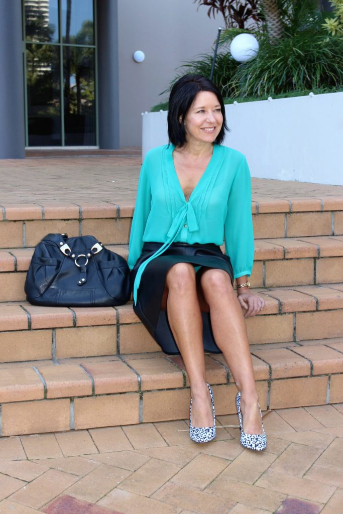 Green Guess shirt and leather skirt-stylebykylie