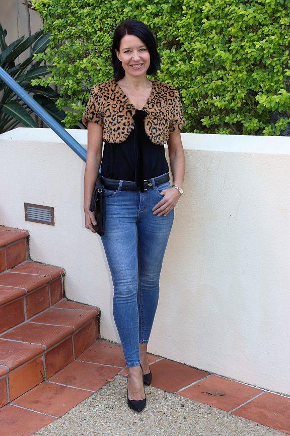 Leopard fur bolero