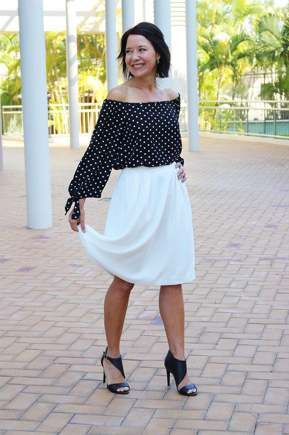 Off the shoulder polka dot blouse