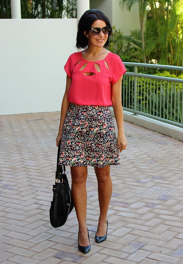 Coral top and patterned skirt