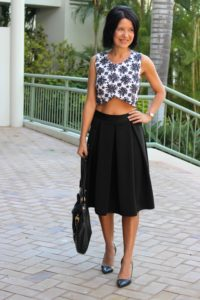 Black skirt and crop top