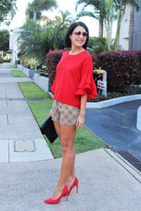 red flouncy sleeve top