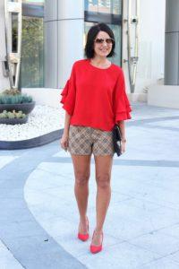 red flouncy sleeves