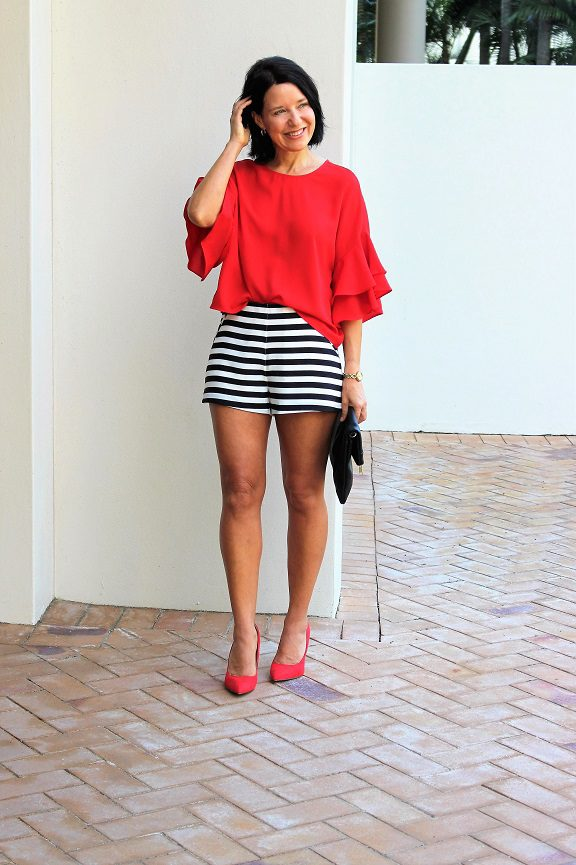 Red flouncy sleeve top