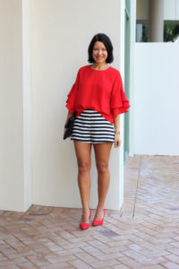 red flounce sleeves